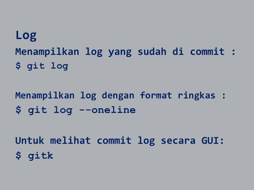 Log Menampilkan log yang sudah di commit : $ git log Menampilkan log dengan format ringkas : $ git log --oneline Untuk melihat commit log secara GUI: