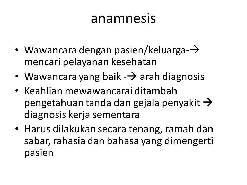 anamnesis Wawancara dengan pasien/keluarga-  mencari pelayanan kesehatan Wawancara yang baik -  arah diagnosis Keahlian mewawancarai ditambah penget