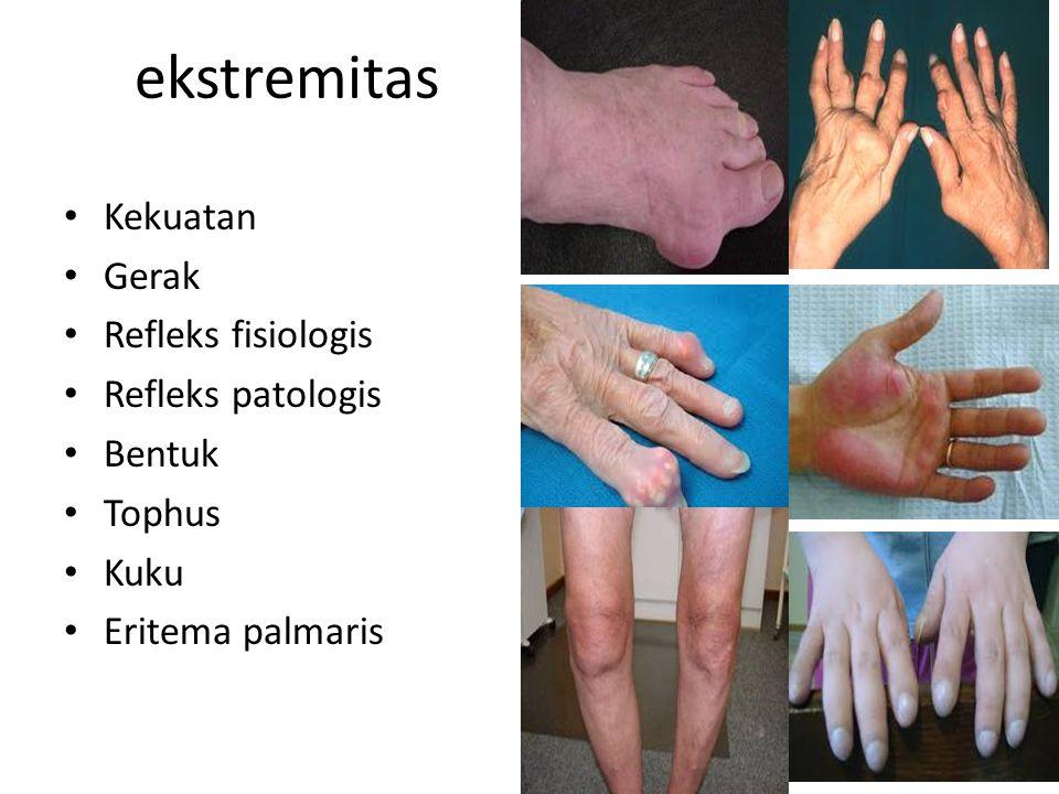 ekstremitas Kekuatan Gerak Refleks fisiologis Refleks patologis Bentuk Tophus Kuku Eritema palmaris