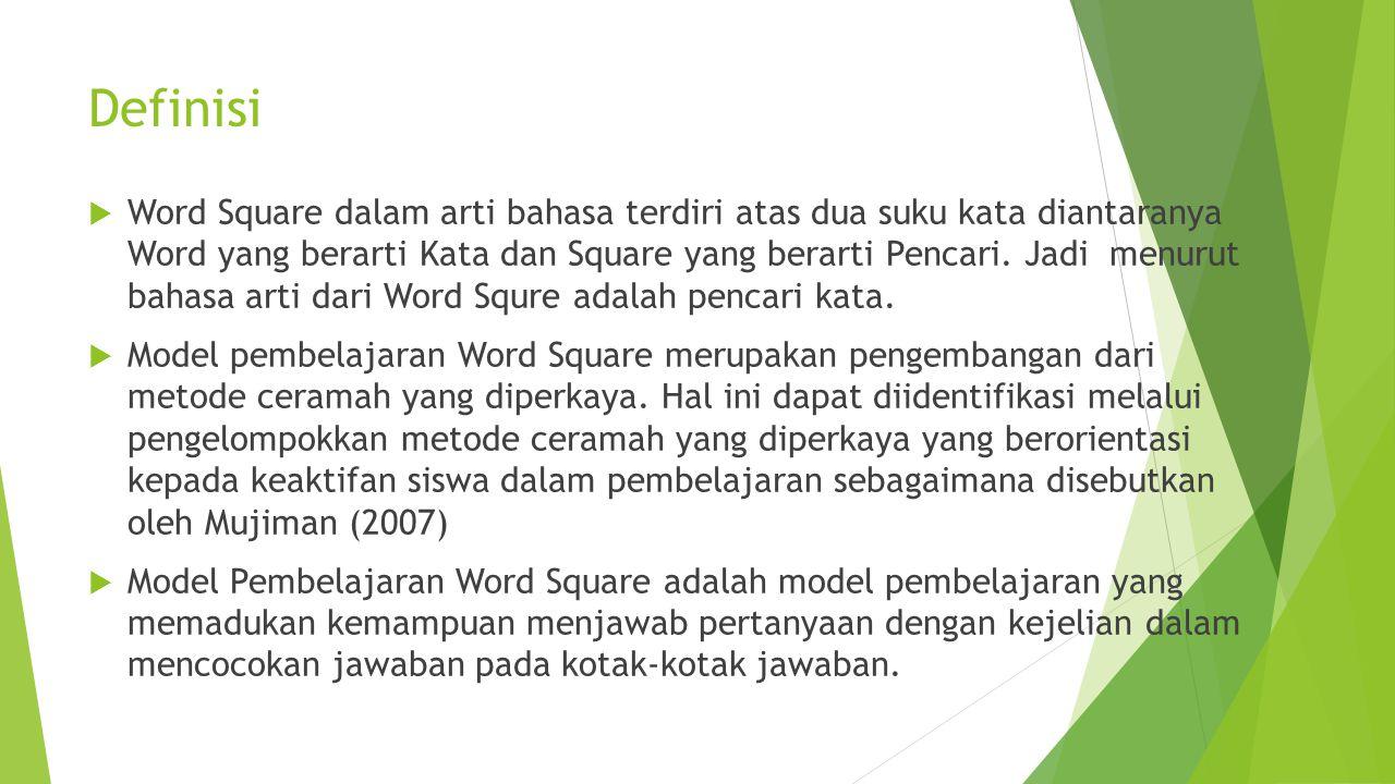 Definisi  Word Square dalam arti bahasa terdiri atas dua suku kata diantaranya Word yang berarti Kata dan Square yang berarti Pencari. Jadi menurut b