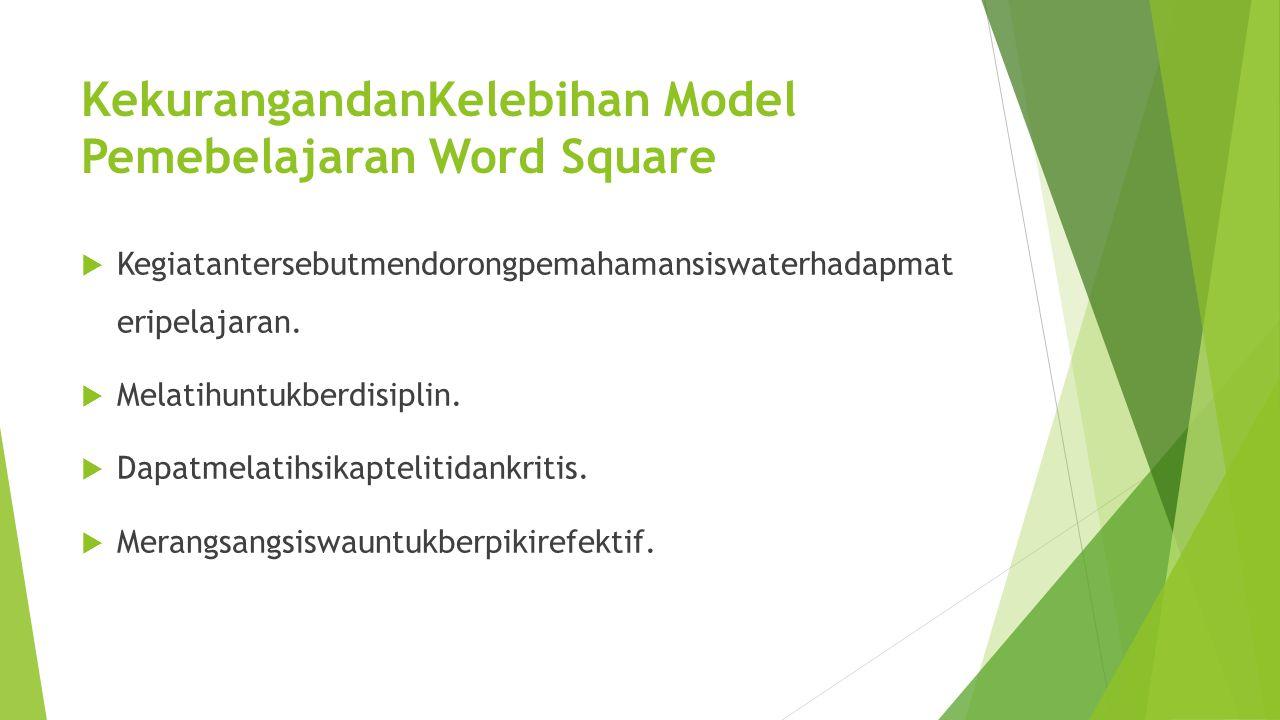 KekurangandanKelebihan Model Pemebelajaran Word Square  Kegiatantersebutmendorongpemahamansiswaterhadapmat eripelajaran.  Melatihuntukberdisiplin. 