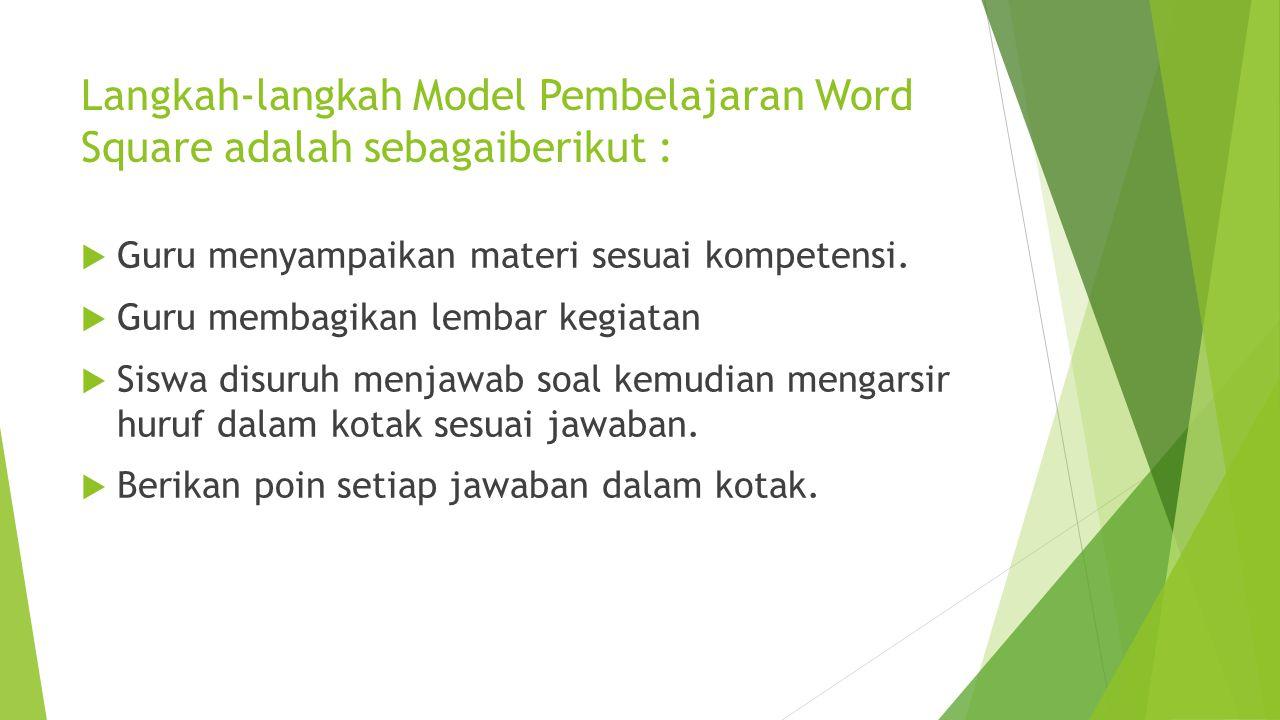 Langkah-langkah Model Pembelajaran Word Square adalah sebagaiberikut :  Guru menyampaikan materi sesuai kompetensi.  Guru membagikan lembar kegiatan