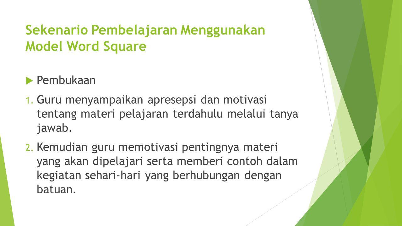 Sekenario Pembelajaran Menggunakan Model Word Square  Pembukaan 1. Guru menyampaikan apresepsi dan motivasi tentang materi pelajaran terdahulu melalu