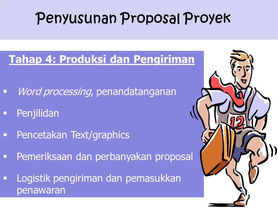 Penyusunan Proposal Proyek Tahap 4: Produksi dan Pengiriman  Word processing, penandatanganan  Penjilidan  Pencetakan Text/graphics  Pemeriksaan d