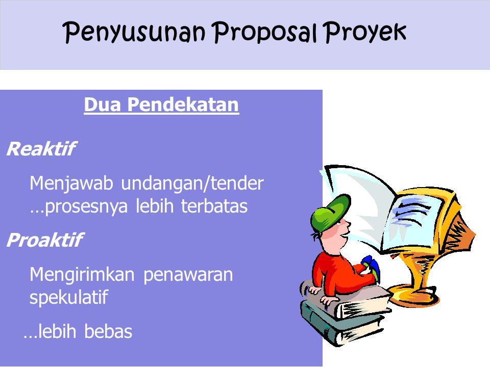 Penyusunan Proposal Proyek Dua Pendekatan Reaktif Menjawab undangan/tender …prosesnya lebih terbatas Proaktif Mengirimkan penawaran spekulatif …lebih