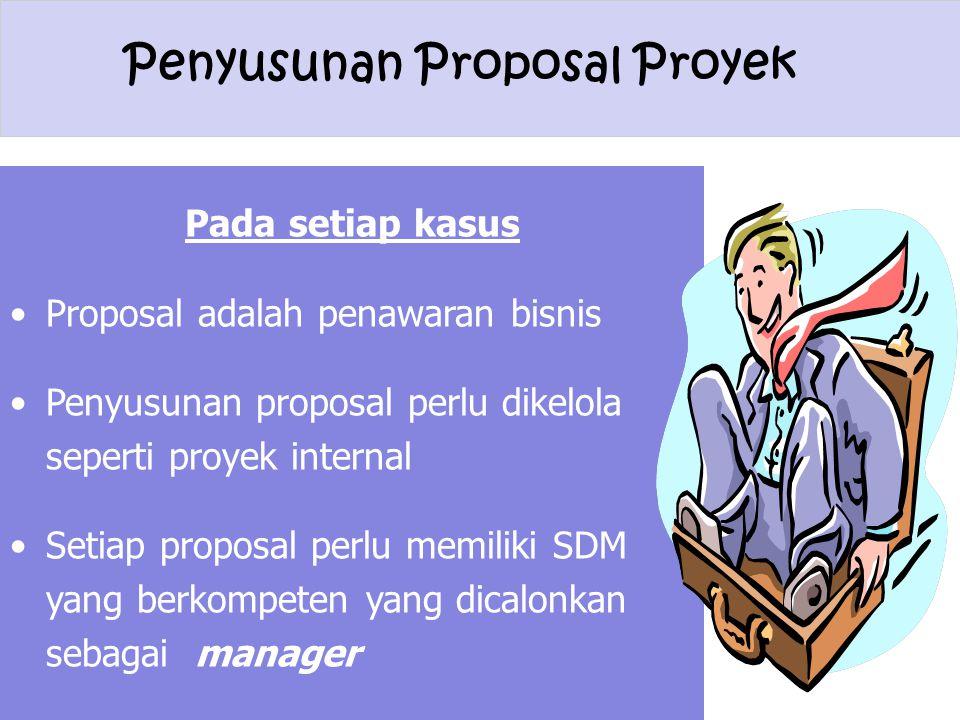 Penyusunan Proposal Proyek Pada setiap kasus Proposal adalah penawaran bisnis Penyusunan proposal perlu dikelola seperti proyek internal Setiap propos