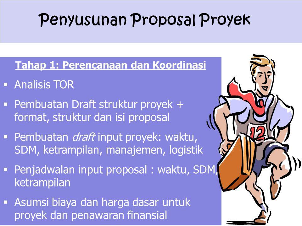 Penyusunan Proposal Proyek Tahap 1: Perencanaan dan Koordinasi  Analisis TOR  Pembuatan Draft struktur proyek + format, struktur dan isi proposal 