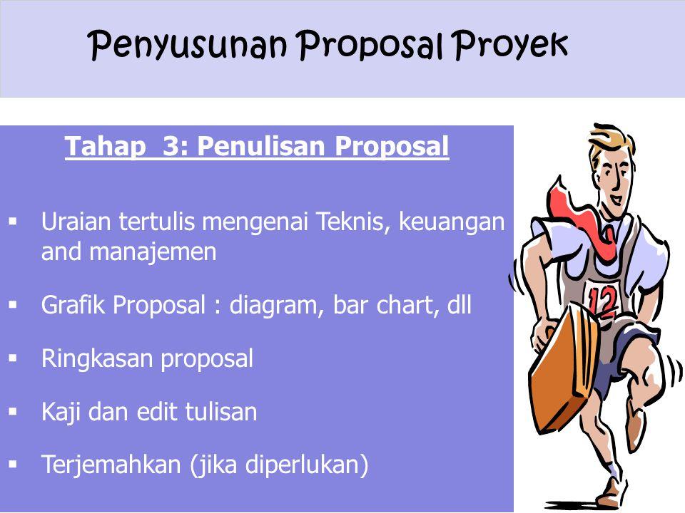 Penyusunan Proposal Proyek Tahap 3: Penulisan Proposal  Uraian tertulis mengenai Teknis, keuangan and manajemen  Grafik Proposal : diagram, bar char
