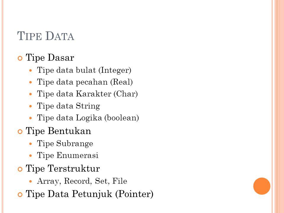 T IPE D ASAR ( INTEGER ) Integer = bilangan bulat.