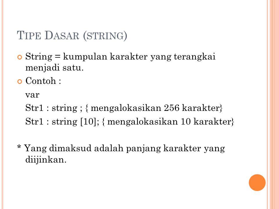 T IPE D ASAR ( STRING ) String = kumpulan karakter yang terangkai menjadi satu. Contoh : var Str1 : string ; { mengalokasikan 256 karakter} Str1 : str