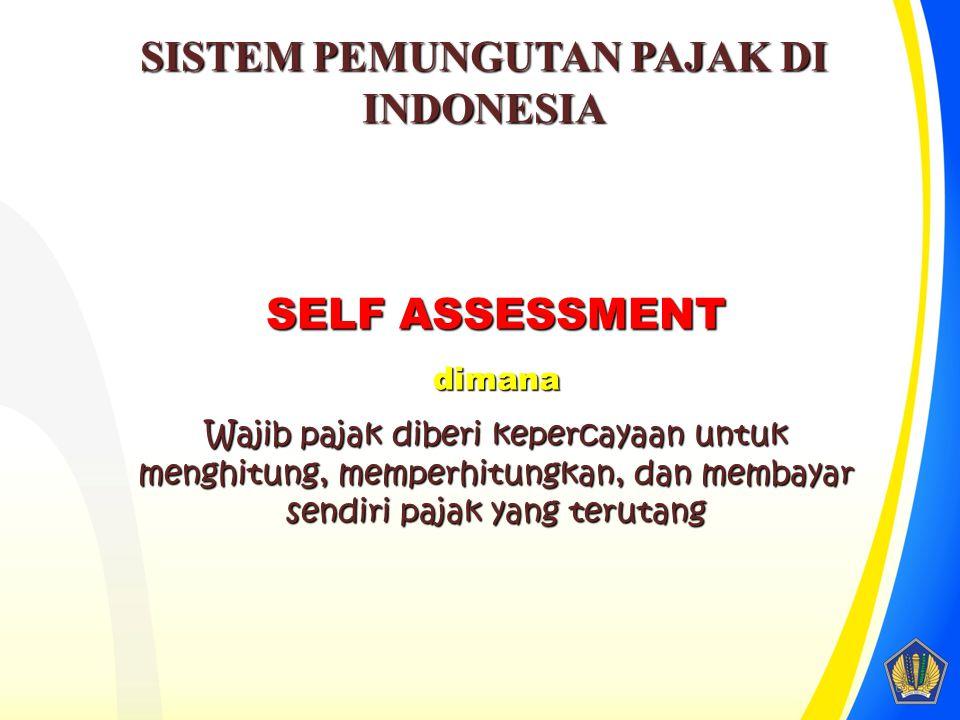SELF ASSESSMENT dimana Wajib pajak diberi kepercayaan untuk menghitung, memperhitungkan, dan membayar sendiri pajak yang terutang SISTEM PEMUNGUTAN PAJAK DI INDONESIA 6