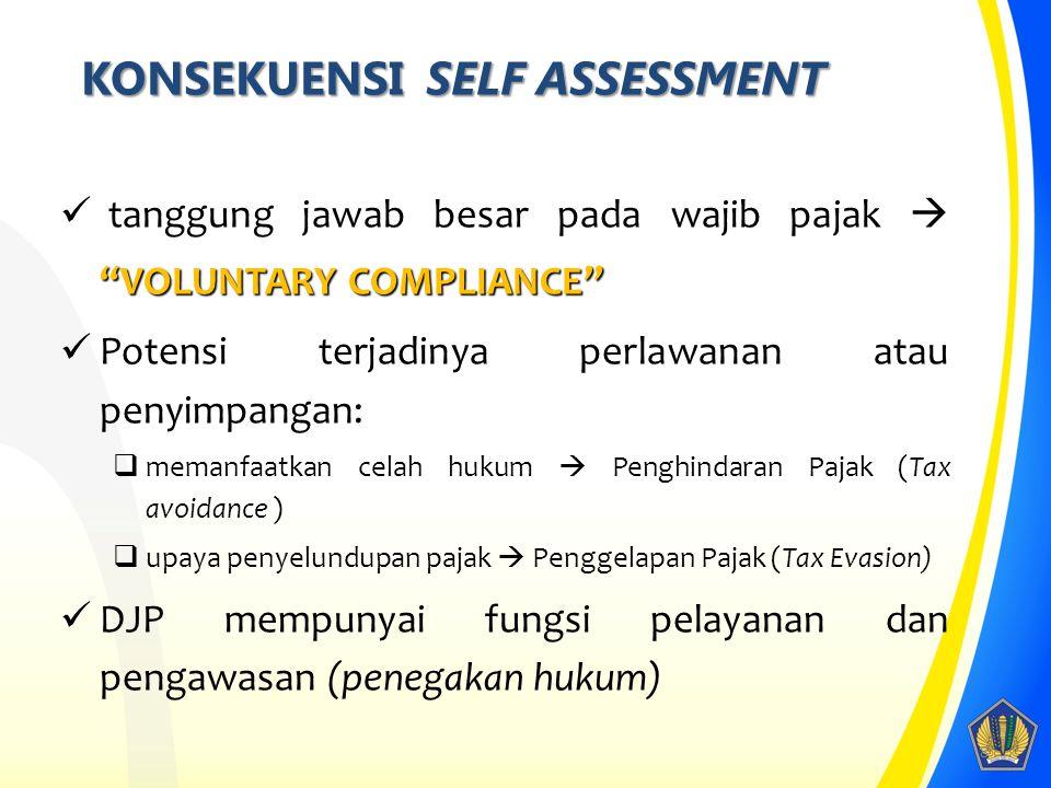 KONSEKUENSI SELF ASSESSMENT VOLUNTARY COMPLIANCE tanggung jawab besar pada wajib pajak  VOLUNTARY COMPLIANCE Potensi terjadinya perlawanan atau penyimpangan:  memanfaatkan celah hukum  Penghindaran Pajak (Tax avoidance )  upaya penyelundupan pajak  Penggelapan Pajak (Tax Evasion) DJP mempunyai fungsi pelayanan dan pengawasan (penegakan hukum) 8