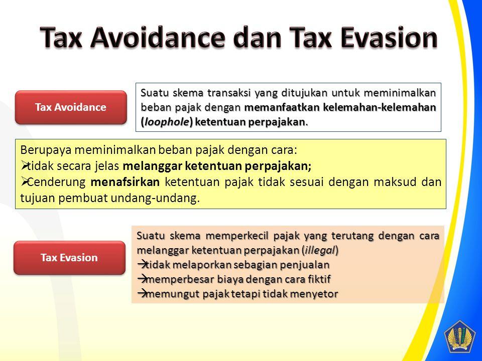 Tax Avoidance Suatu skema transaksi yang ditujukan untuk meminimalkan beban pajak dengan memanfaatkan kelemahan-kelemahan (loophole) ketentuan perpajakan.