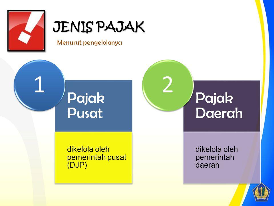 Pajak Pusat dikelola oleh pemerintah pusat (DJP) 1 Pajak Daerah dikelola oleh pemerintah daerah 2 JENIS PAJAK Menurut pengelolanya