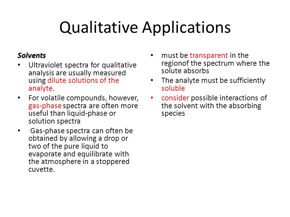 Qualitative Applications Solvents Ultraviolet spectra for qualitative analysis are usually measured using dilute solutions of the analyte. For volatil