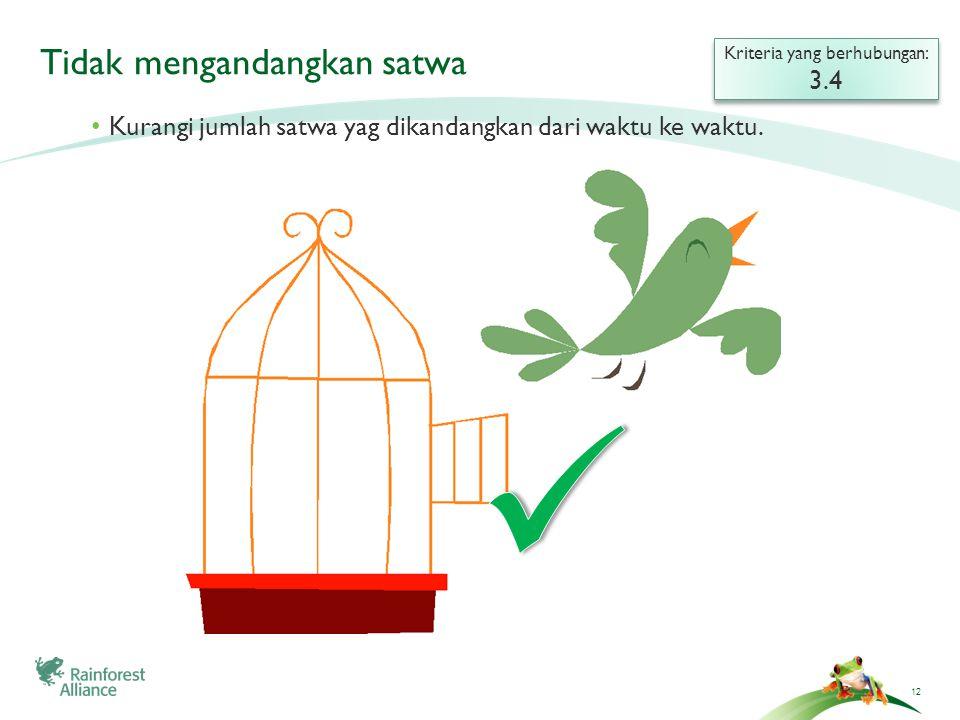 12 Tidak mengandangkan satwa Kriteria yang berhubungan: 3.4 Kriteria yang berhubungan: 3.4 Kurangi jumlah satwa yag dikandangkan dari waktu ke waktu.