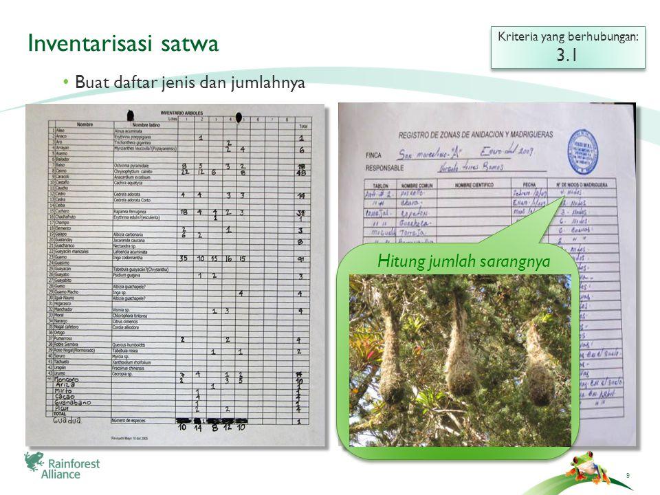 ©2009 RainHutan Alliance Inventarisasi satwa (tingkat lanjut) Kriteria yang berhubungan: 3.1 Kriteria yang berhubungan: 3.1 Cari tahu apakah satwa terancam punah?