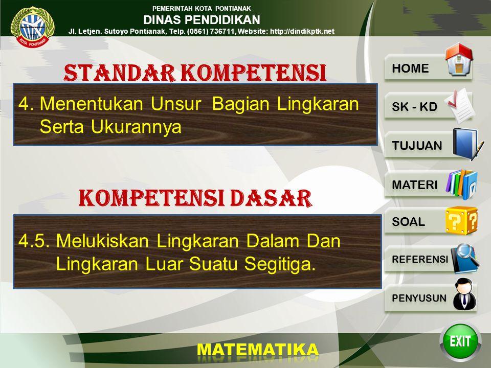 PEMERINTAH KOTA PONTIANAK DINAS PENDIDIKAN Jl. Letjen. Sutoyo Pontianak, Telp. (0561) 736711, Website: http://dindikptk.net MTK GARIS SINGGUNG LINGKAR