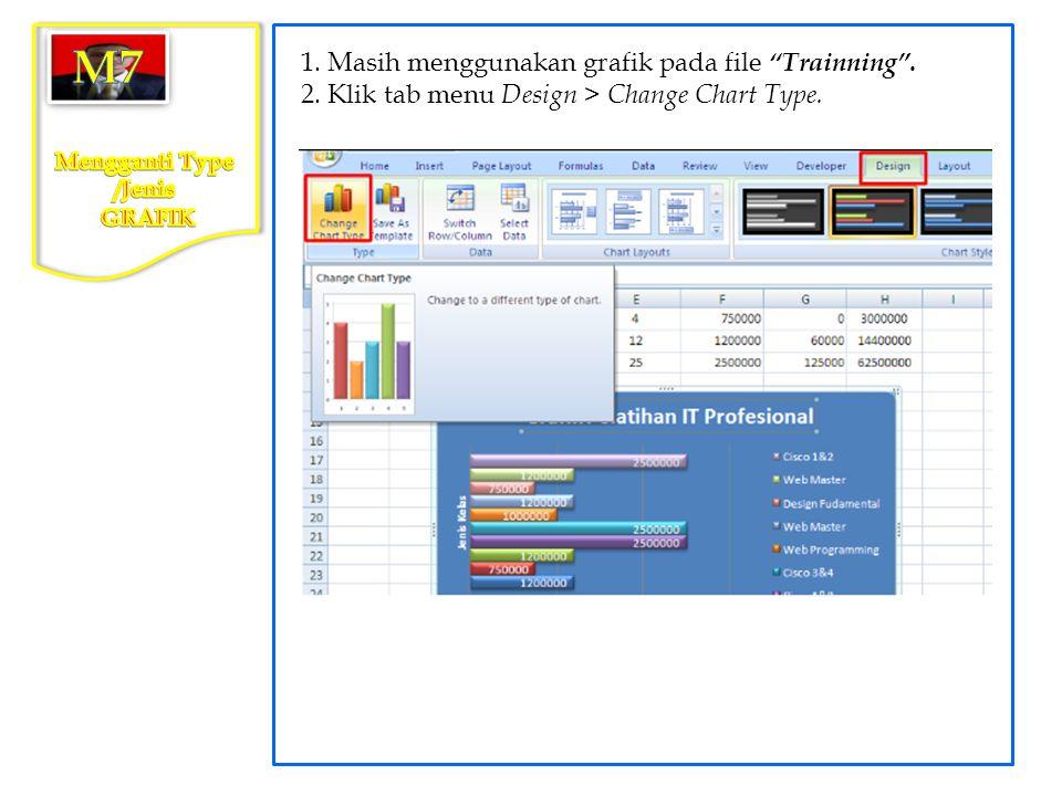 """1. Masih menggunakan grafik pada file """"Trainning"""". 2. Klik tab menu Design > Change Chart Type."""