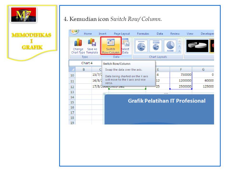 4. Kemudian icon Switch Row/ Column.