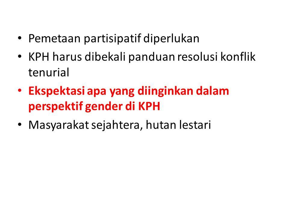 Pemetaan partisipatif diperlukan KPH harus dibekali panduan resolusi konflik tenurial Ekspektasi apa yang diinginkan dalam perspektif gender di KPH Ma
