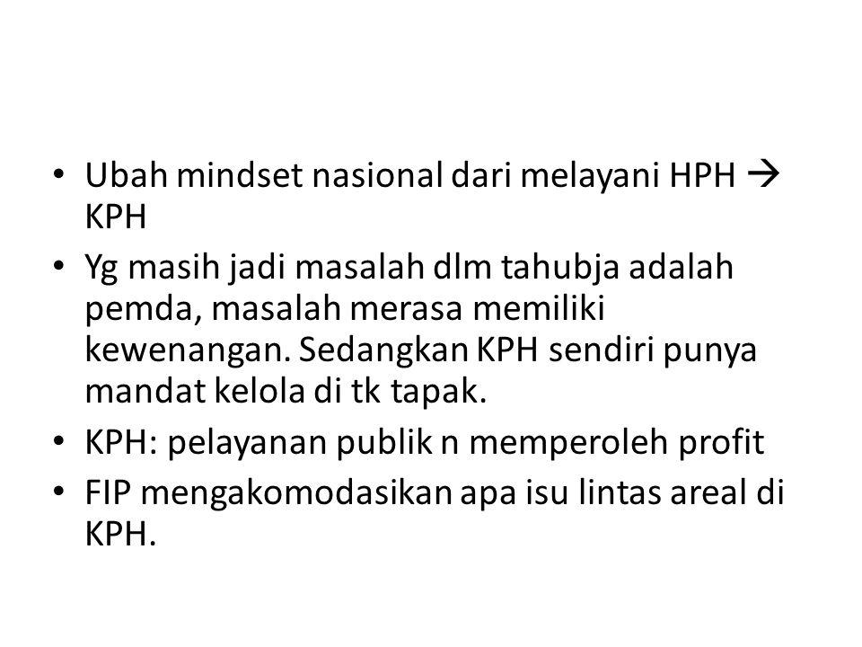 Ubah mindset nasional dari melayani HPH  KPH Yg masih jadi masalah dlm tahubja adalah pemda, masalah merasa memiliki kewenangan. Sedangkan KPH sendir