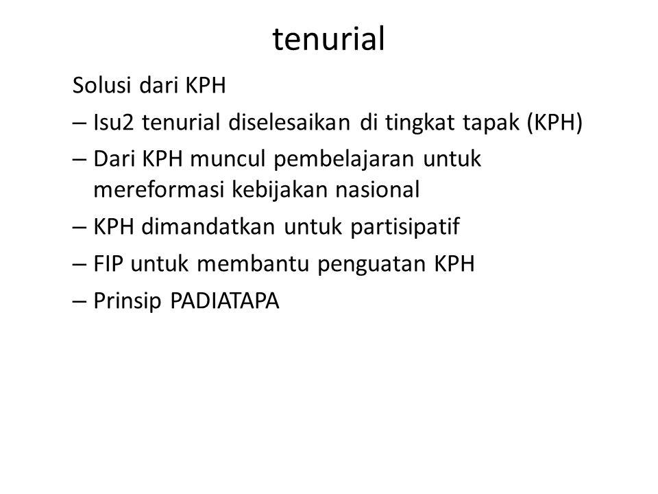 tenurial Solusi dari KPH – Isu2 tenurial diselesaikan di tingkat tapak (KPH) – Dari KPH muncul pembelajaran untuk mereformasi kebijakan nasional – KPH