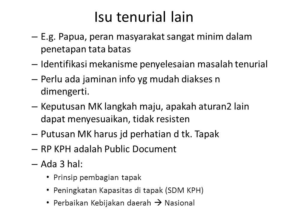 Isu tenurial lain – E.g. Papua, peran masyarakat sangat minim dalam penetapan tata batas – Identifikasi mekanisme penyelesaian masalah tenurial – Perl