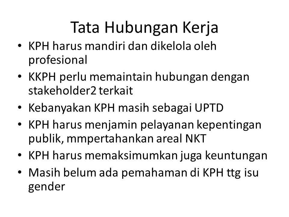 Tata Hubungan Kerja KPH harus mandiri dan dikelola oleh profesional KKPH perlu memaintain hubungan dengan stakeholder2 terkait Kebanyakan KPH masih se