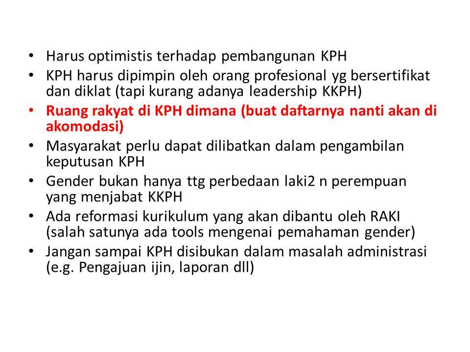 Harus optimistis terhadap pembangunan KPH KPH harus dipimpin oleh orang profesional yg bersertifikat dan diklat (tapi kurang adanya leadership KKPH) R