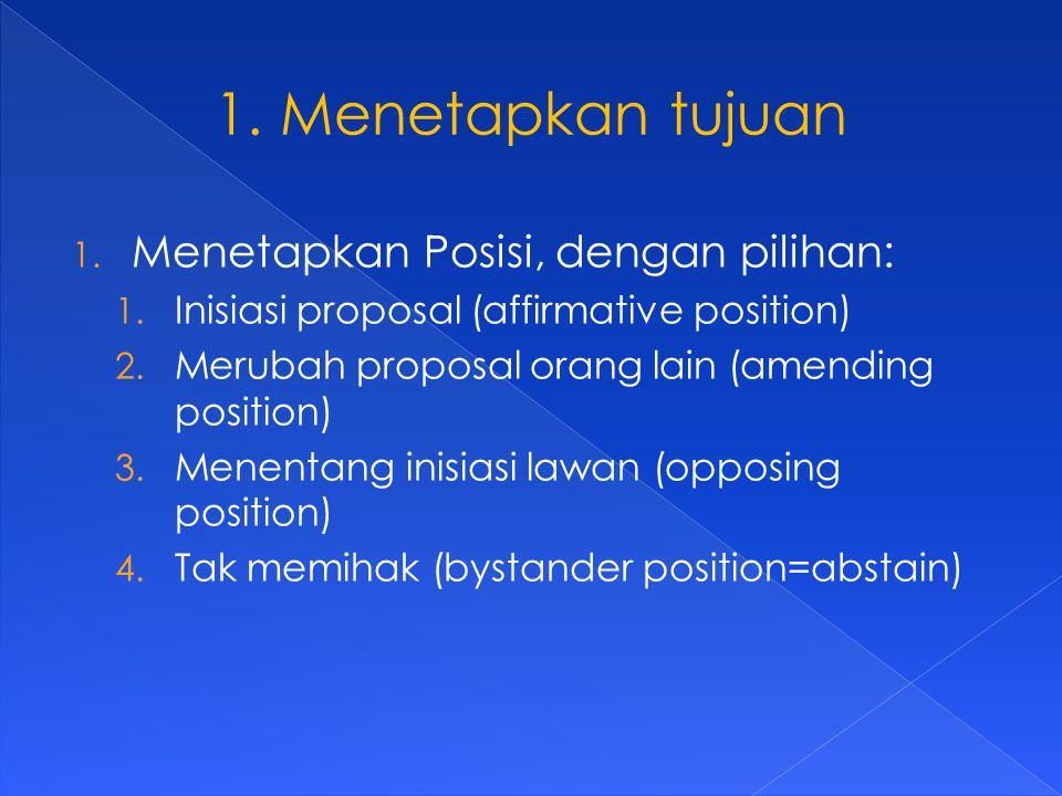 1. Menetapkan Posisi, dengan pilihan: 1. Inisiasi proposal (affirmative position) 2.