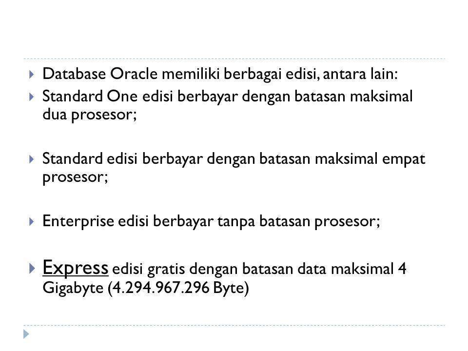  Database Oracle memiliki berbagai edisi, antara lain:  Standard One edisi berbayar dengan batasan maksimal dua prosesor;  Standard edisi berbayar