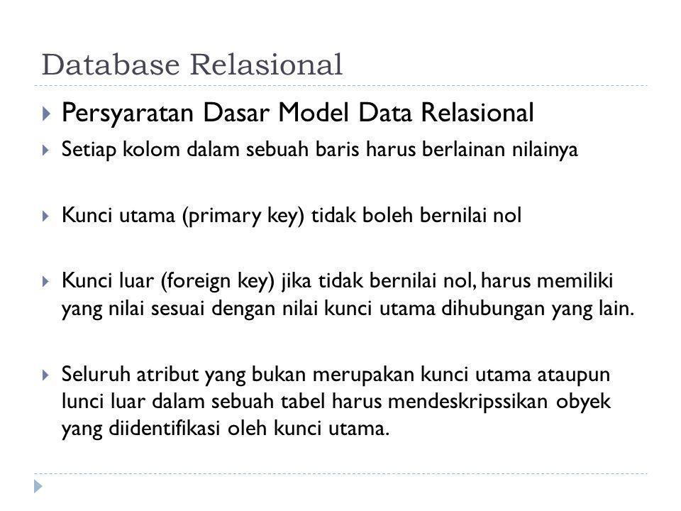 Database Relasional  Persyaratan Dasar Model Data Relasional  Setiap kolom dalam sebuah baris harus berlainan nilainya  Kunci utama (primary key) t