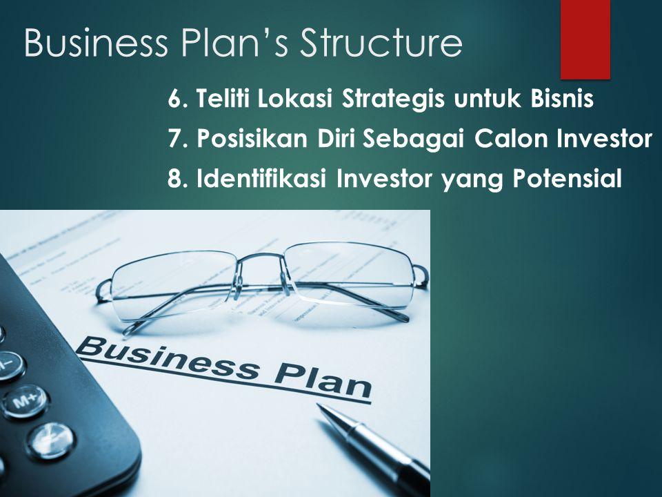 Business Plan's Structure 6.Teliti Lokasi Strategis untuk Bisnis 7.