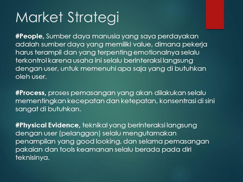 Market Strategi #People, Sumber daya manusia yang saya perdayakan adalah sumber daya yang memiliki value, dimana pekerja harus terampil dan yang terpenting emotionalnya selalu terkontrol karena usaha ini selalu berinteraksi langsung dengan user, untuk memenuhi apa saja yang di butuhkan oleh user.