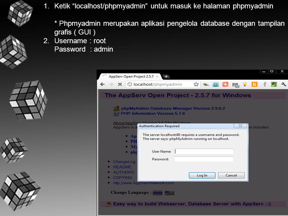 """1.Ketik """"localhost/phpmyadmin"""" untuk masuk ke halaman phpmyadmin * Phpmyadmin merupakan aplikasi pengelola database dengan tampilan grafis ( GUI ) 2.U"""