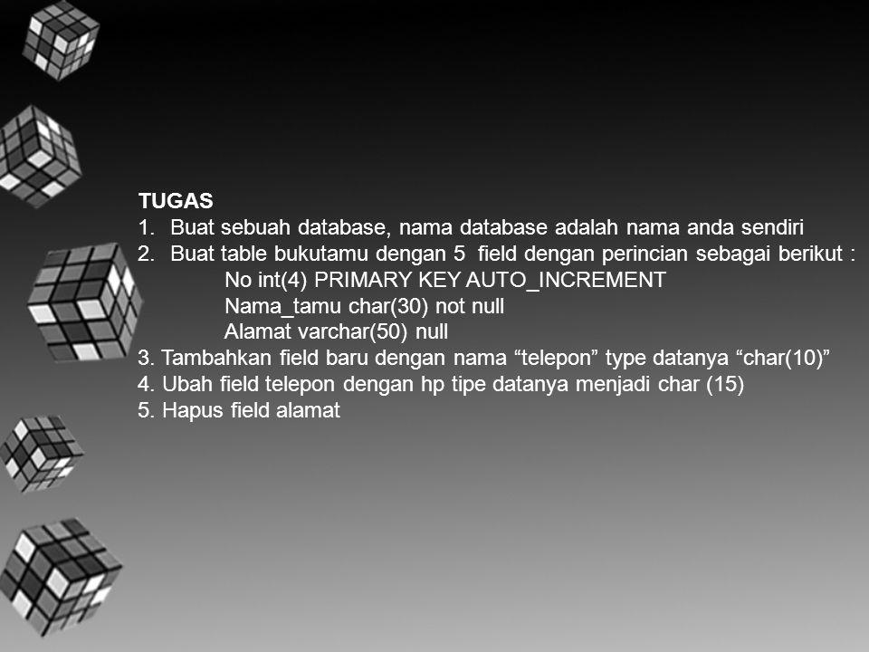 TUGAS 1.Buat sebuah database, nama database adalah nama anda sendiri 2.Buat table bukutamu dengan 5 field dengan perincian sebagai berikut : No int(4)