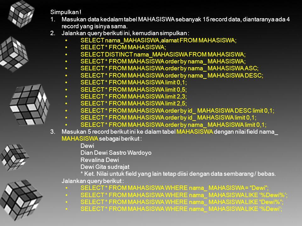 Simpulkan ! 1.Masukan data kedalam tabel MAHASISWA sebanyak 15 record data, diantaranya ada 4 record yang isinya sama. 2.Jalankan query berikuti ini,