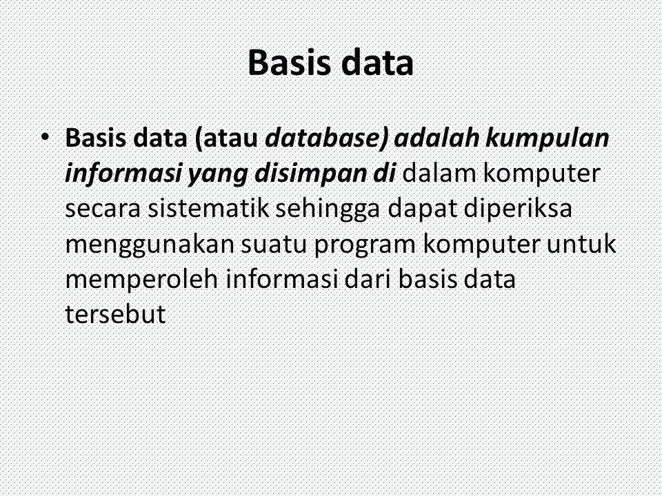 DBMS DBMS (Database Management System) merupakan suatu sistemperangkat lunak yang memungkinkan user (pengguna) untuk membuat,memelihara, mengontrol, dan mengakses database secara praktis dan efisien.