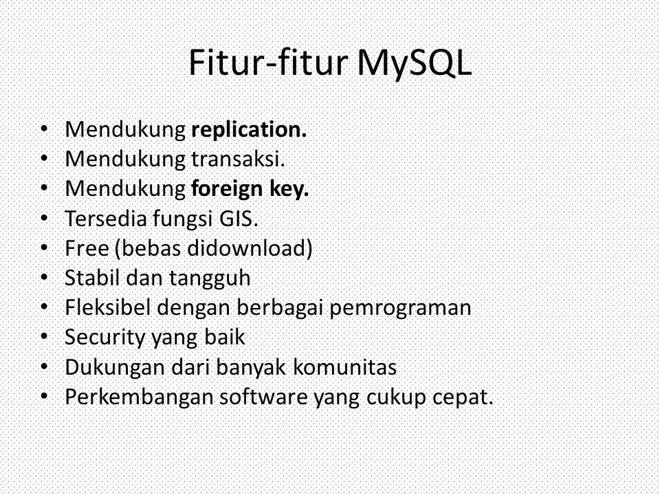 Fitur-fitur MySQL Mendukung replication. Mendukung transaksi. Mendukung foreign key. Tersedia fungsi GIS. Free (bebas didownload) Stabil dan tangguh F