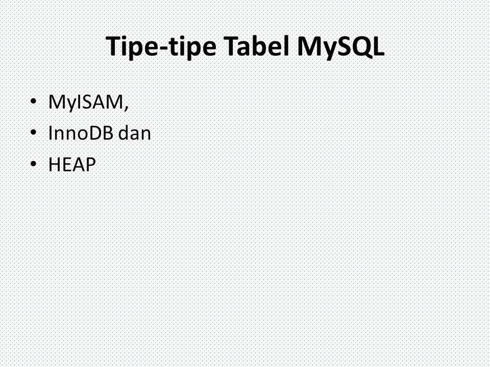 Tipe-tipe Tabel MySQL MyISAM, InnoDB dan HEAP