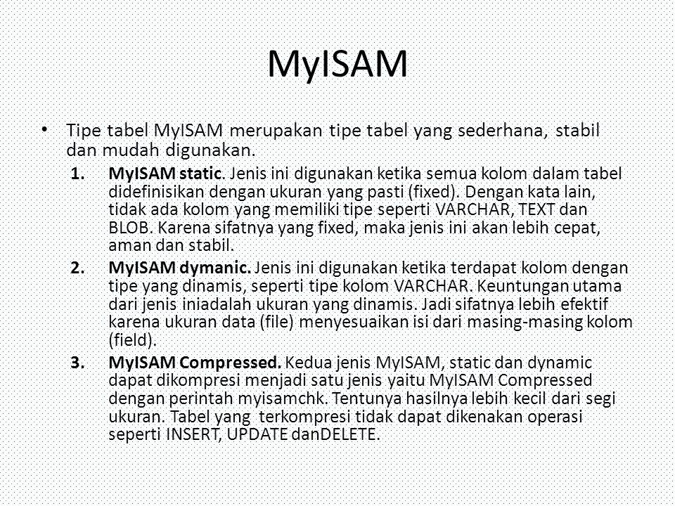 MyISAM Tipe tabel MyISAM merupakan tipe tabel yang sederhana, stabil dan mudah digunakan. 1.MyISAM static. Jenis ini digunakan ketika semua kolom dala