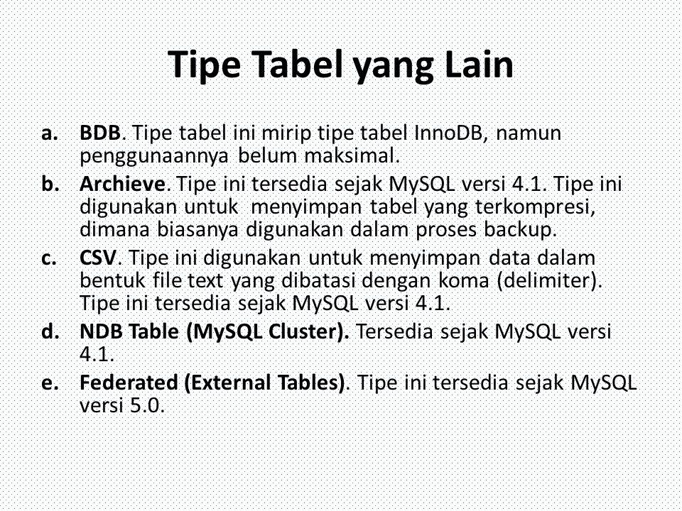 Tipe Tabel yang Lain a.BDB. Tipe tabel ini mirip tipe tabel InnoDB, namun penggunaannya belum maksimal. b.Archieve. Tipe ini tersedia sejak MySQL vers