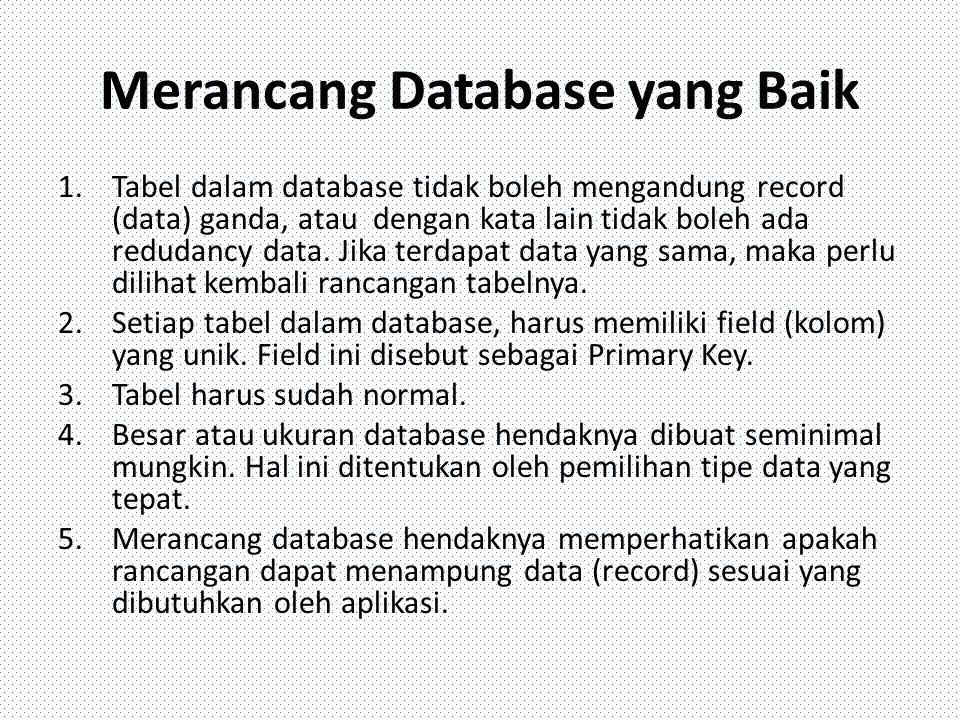 Merancang Database yang Baik 1.Tabel dalam database tidak boleh mengandung record (data) ganda, atau dengan kata lain tidak boleh ada redudancy data.