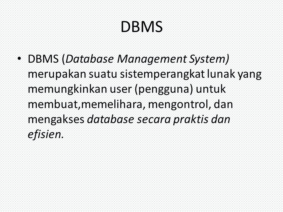 DBMS DBMS (Database Management System) merupakan suatu sistemperangkat lunak yang memungkinkan user (pengguna) untuk membuat,memelihara, mengontrol, d