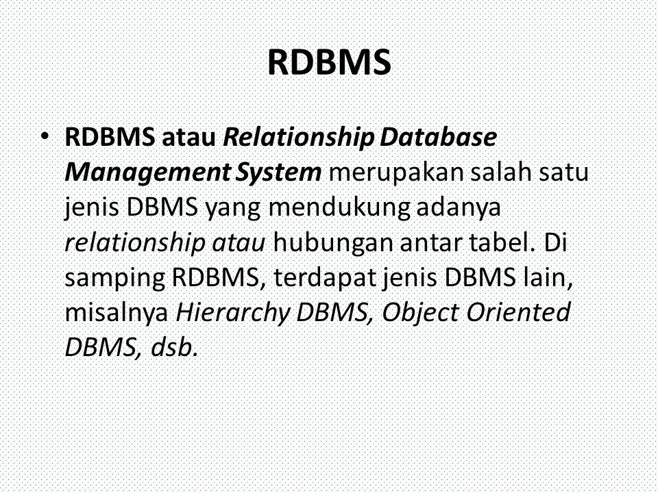 Perangkat lunak DBMS DB2 - http://www-306.ibm.com/software/data/db2/ Microsoft SQL Server - http://www.microsoft.com/sqlOracle - http://www.oracle.com Sybase - http://www.sybase.com/ Interbase - http://www.borland.com/interbase Teradata - http://www.teradata.com/ Firebird - http://www.firebirdsql.org/ MySQL – http://www.mysql.com PostgreSQL - http://www.postgresql.org/
