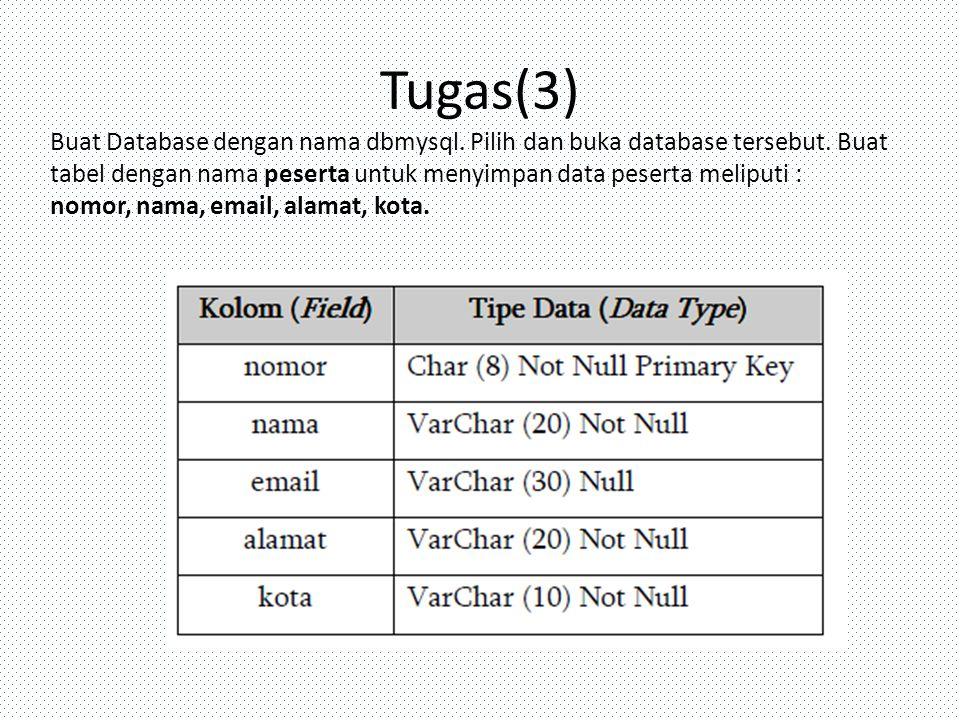 Tugas(3) Buat Database dengan nama dbmysql. Pilih dan buka database tersebut. Buat tabel dengan nama peserta untuk menyimpan data peserta meliputi : n