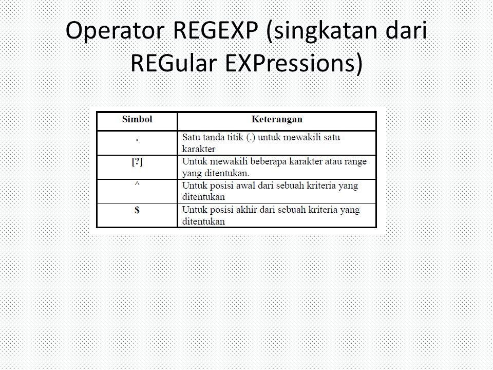 Operator REGEXP (singkatan dari REGular EXPressions)