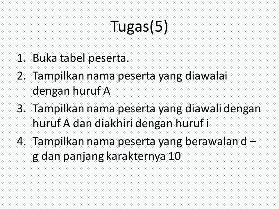 Tugas(5) 1.Buka tabel peserta. 2.Tampilkan nama peserta yang diawalai dengan huruf A 3.Tampilkan nama peserta yang diawali dengan huruf A dan diakhiri