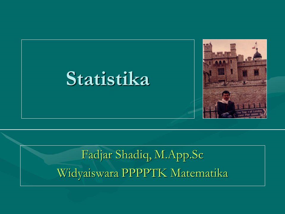 Statistika Fadjar Shadiq, M.App.Sc Widyaiswara PPPPTK Matematika